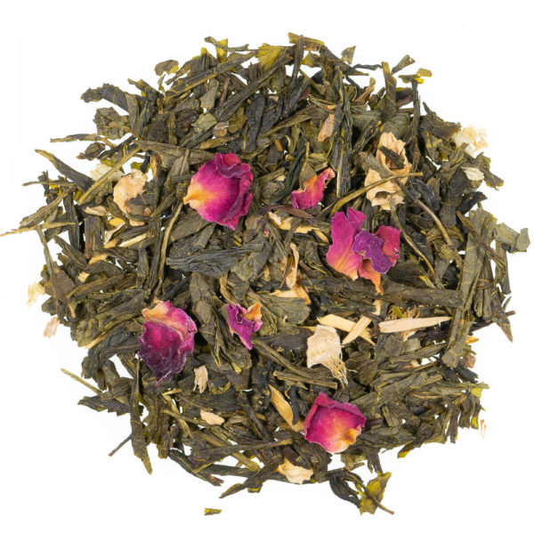 Tè verde con petali di rosa